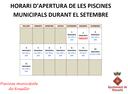 HORARI D'APERTURA DE LES PISCINES MUNICIPALS DURANT EL MES DE SETEMBRE